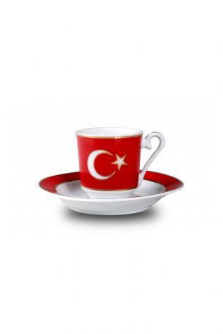 KÜTAHYA PORSELEN - Kütahya Porselen El Yapımı Ay Yıldız Türk Kahve Takımı