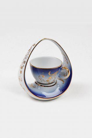 Kütahya Porselen - Kütahya Porselen El Yapımı Sepet Kahve Fincan Lacivert