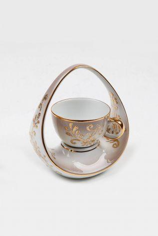 Kütahya Porselen - Kütahya Porselen El Yapımı Sepet Kahve Fincan Açık Kahve