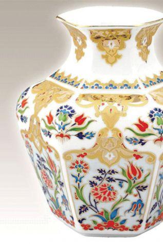KÜTAHYA PORSELEN - Köşeli Vazo 15 cm Dekor No:412