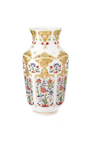 Kütahya Porselen - Kütahya Porselen Antik Vazo 25 cm Dekor No:412