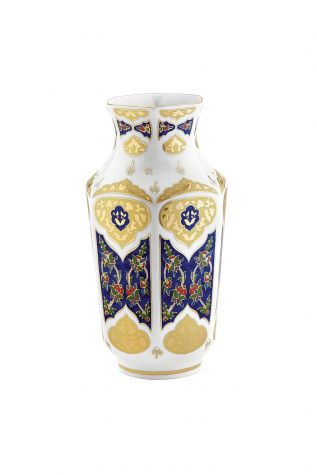 Kütahya Porselen - Kütahya Porselen Antik Vazo 25 cm Dekor No:3880