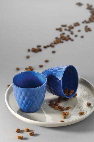 Kütahya Porselen - Kütahya Porselen Favo 2'li Espresso Kahve Seti Lacivert