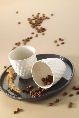 Kütahya Porselen - Kütahya Porselen Favo 2'li Mug Seti Krem