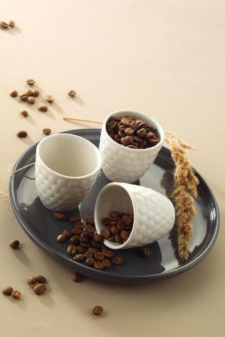 Kütahya Porselen - Kütahya Porselen Favo 3'lü Kahve Seti Krem