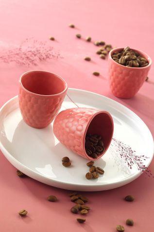 Kütahya Porselen - Kütahya Porselen Favo 3'lü Kahve Seti Pembe