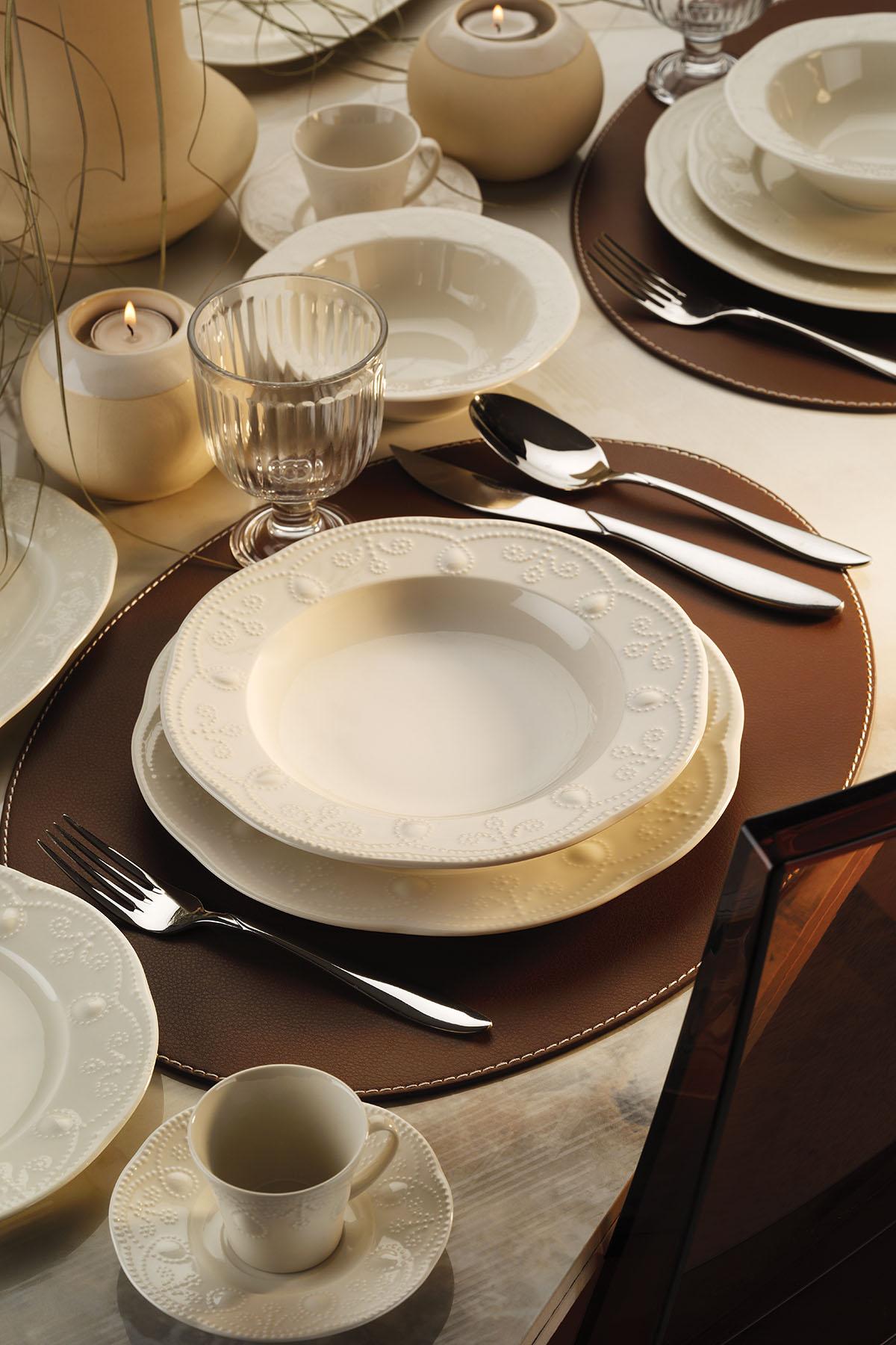 Kütahya Porselen Fulya 62 Parça Krem Yemek Takımı