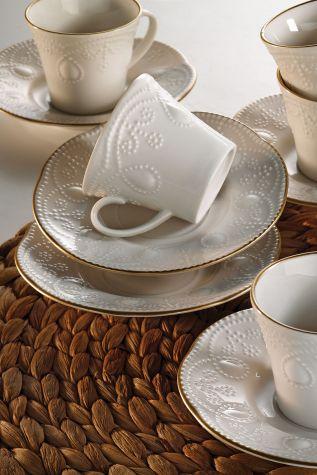 Kütahya Porselen - Kütahya Porselen Fulya Krem Altın File Kahve Fincan Takımı