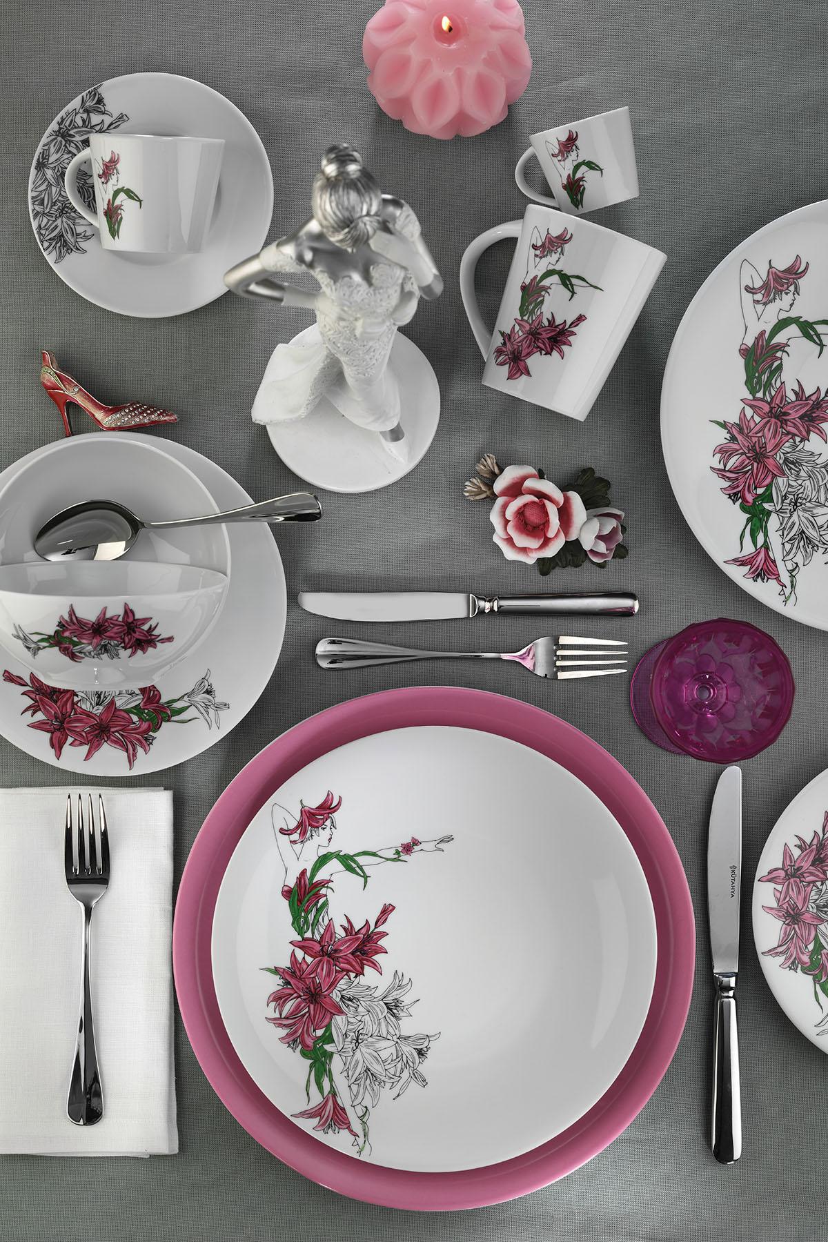 Kütahya Porselen - Kütahya Porselen Kadınlarım Serisi 9441 Desen 24 Parça Yemek Seti