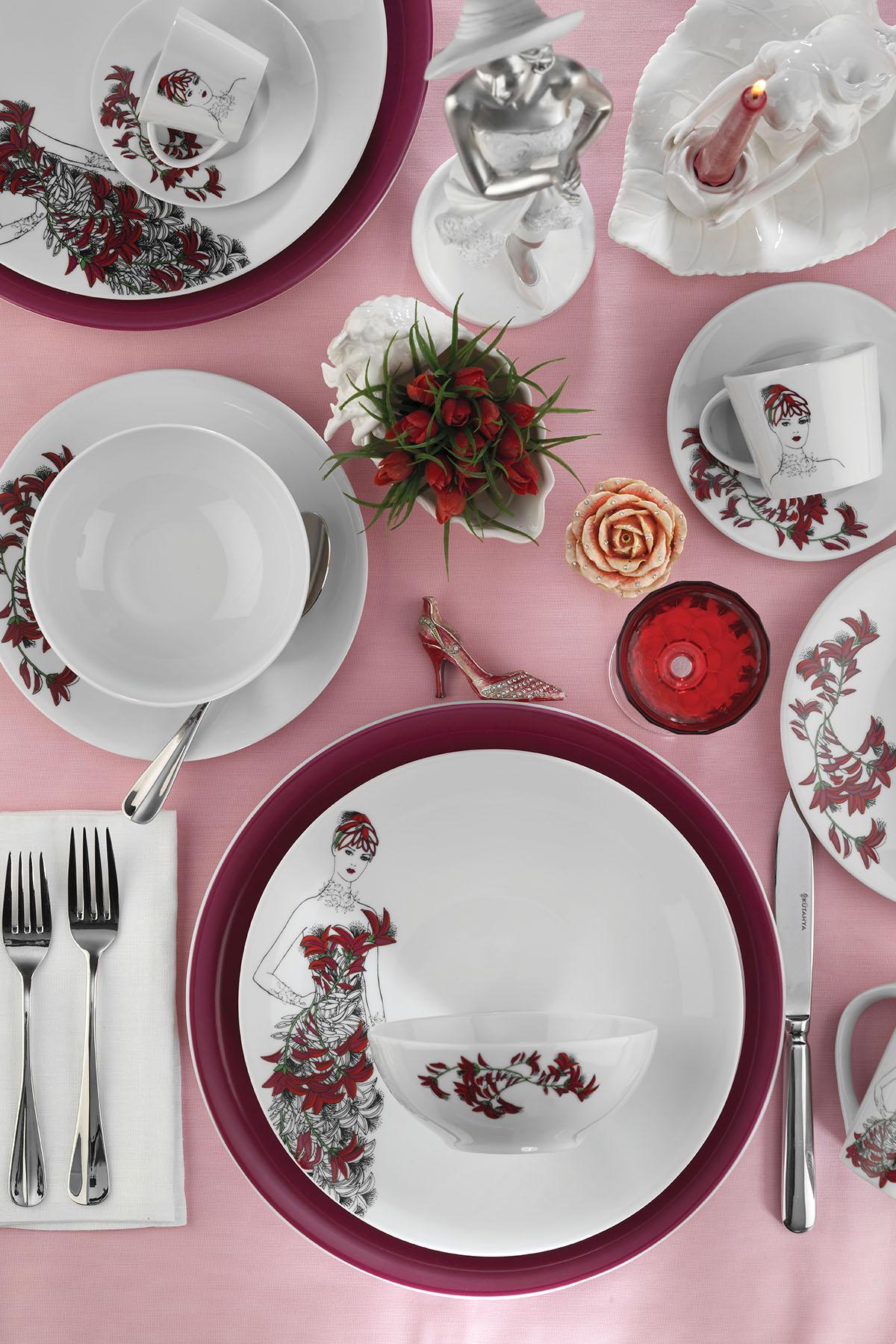 Kütahya Porselen - Kütahya Porselen Kadınlarım Serisi 9445 Desen 24 Parça Yemek Seti