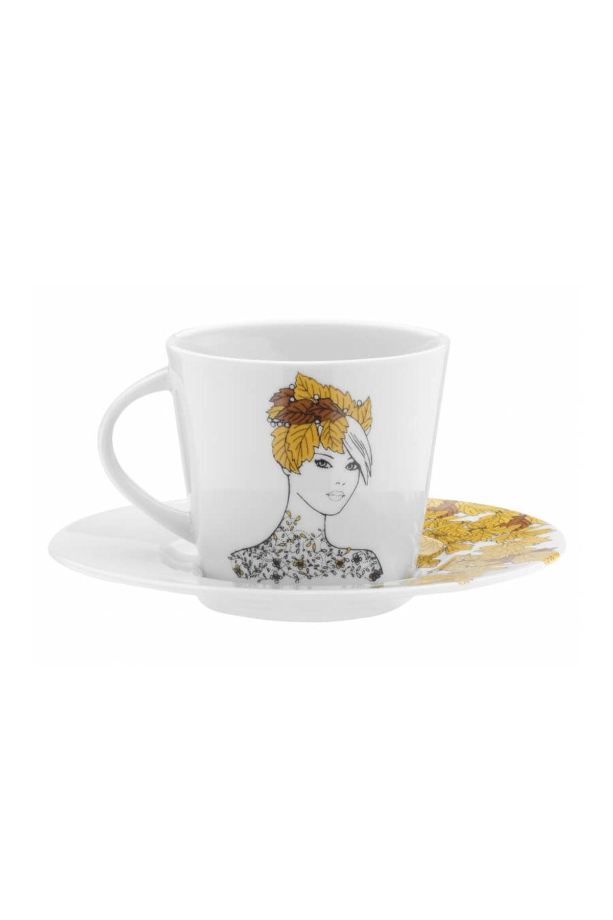 KÜTAHYA PORSELEN - Kütahya Porselen Kadınlarım Serisi 9446 Desen Çay Fincan Takımı