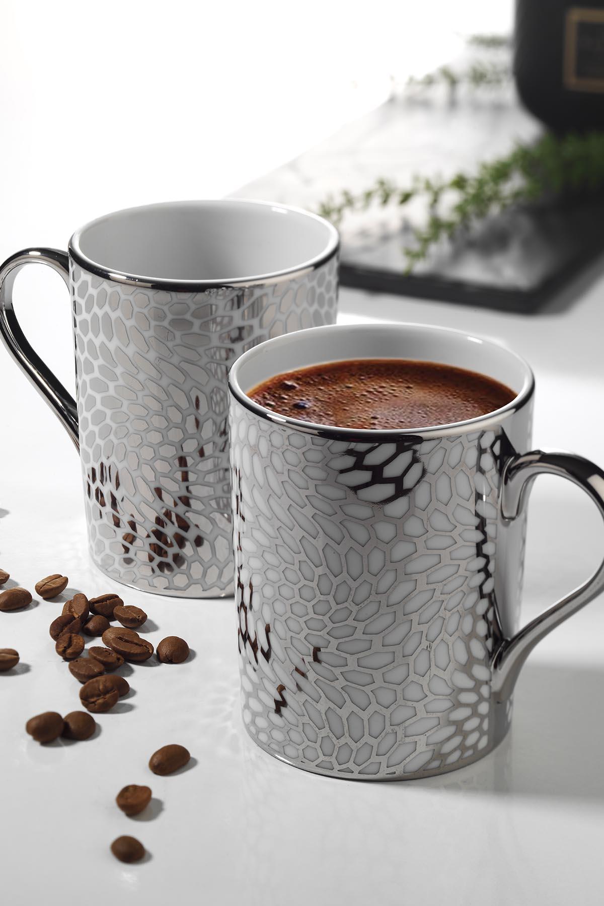 Kütahya Porselen - Kütahya Porselen Forest 2′li Mug Bardak Platin 10927