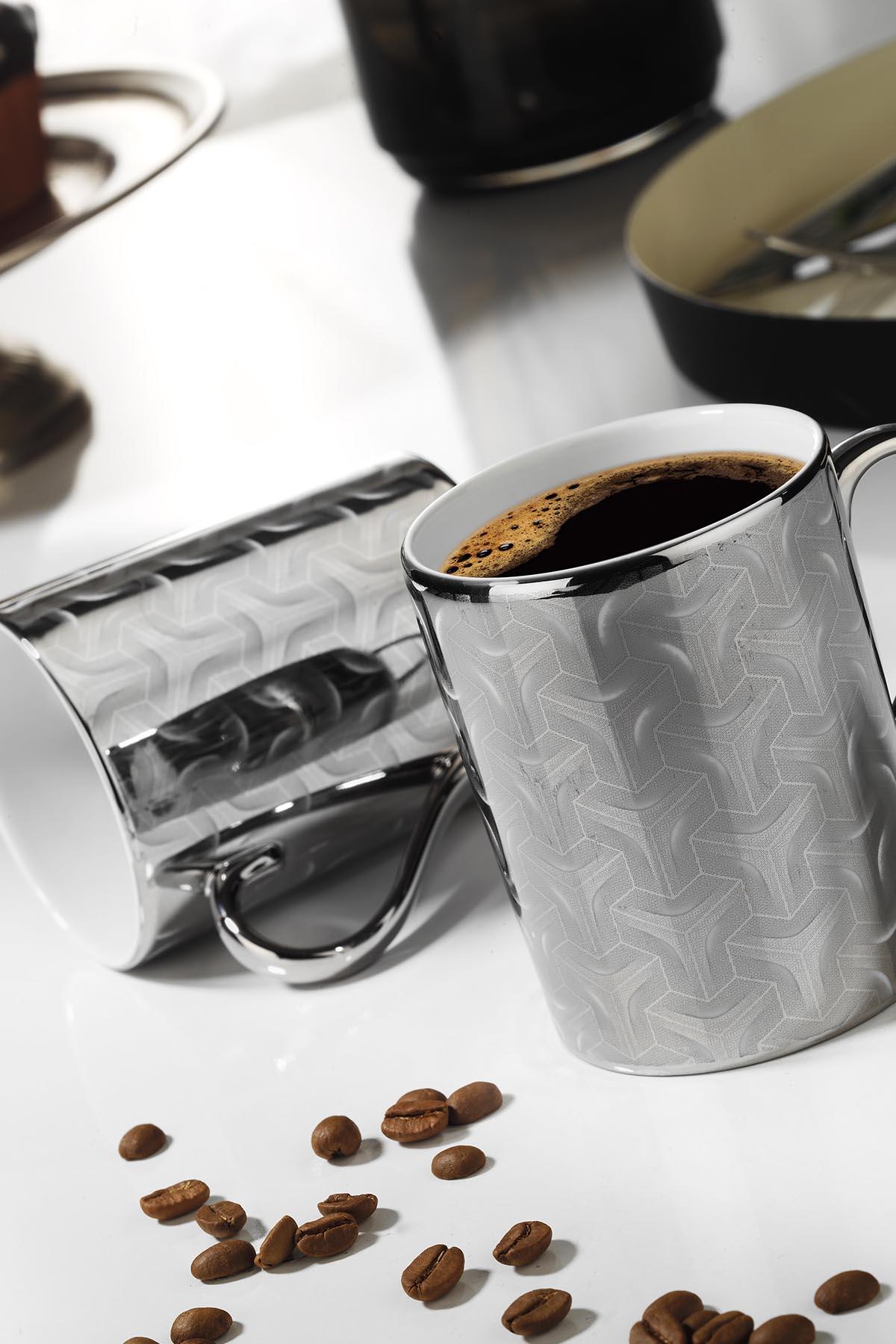 Kütahya Porselen - Kütahya Porselen Forest 2′li Mug Bardak Platin 10930
