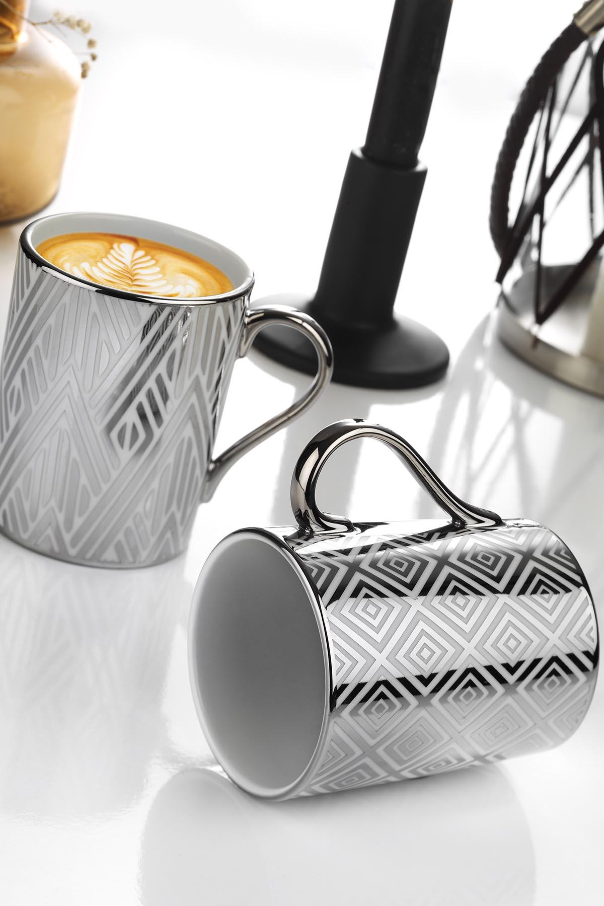 Kütahya Porselen - Kütahya Porselen Forest 2′li Mug Bardak Platin 10932