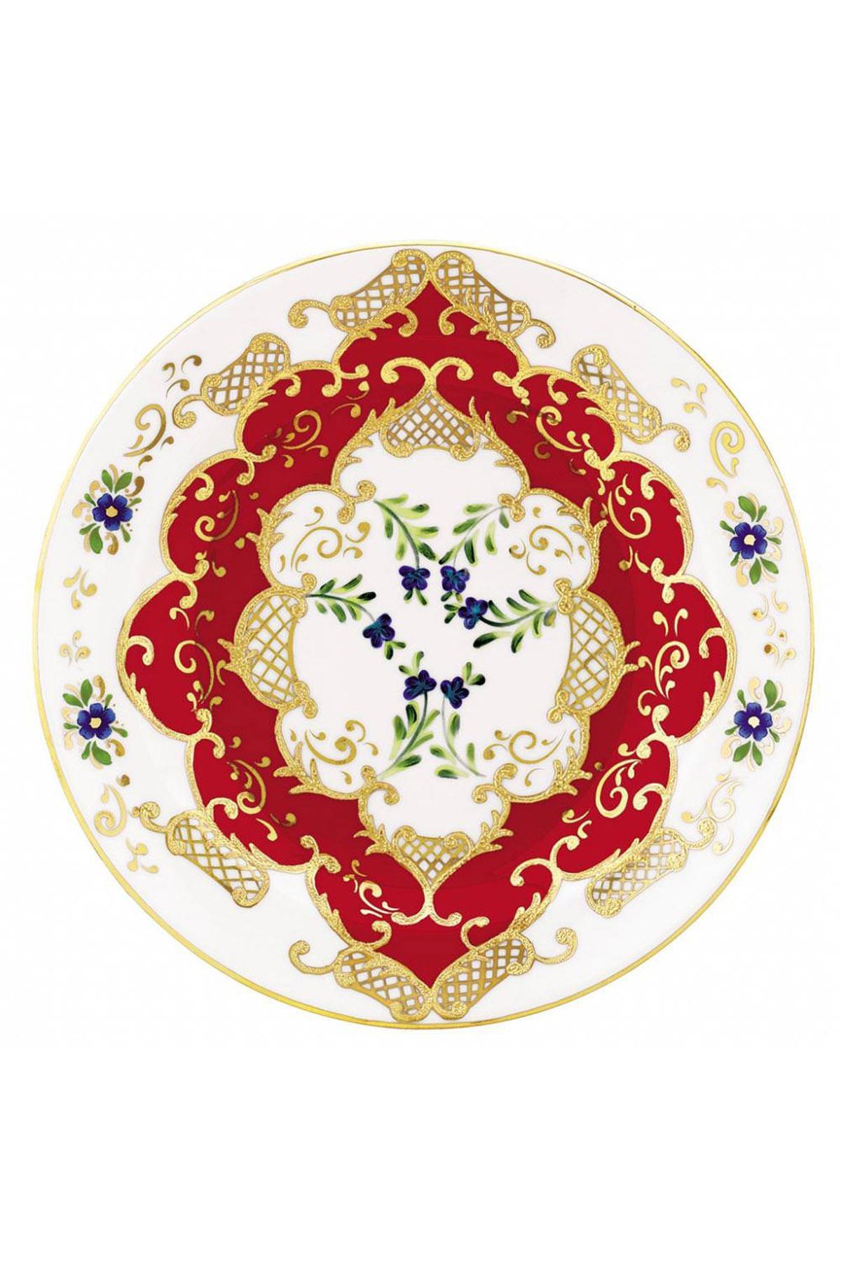 Kütahya Porselen - Kütahya Porselen Lenger 25 Cm Duvar Tabağı Kirmizi