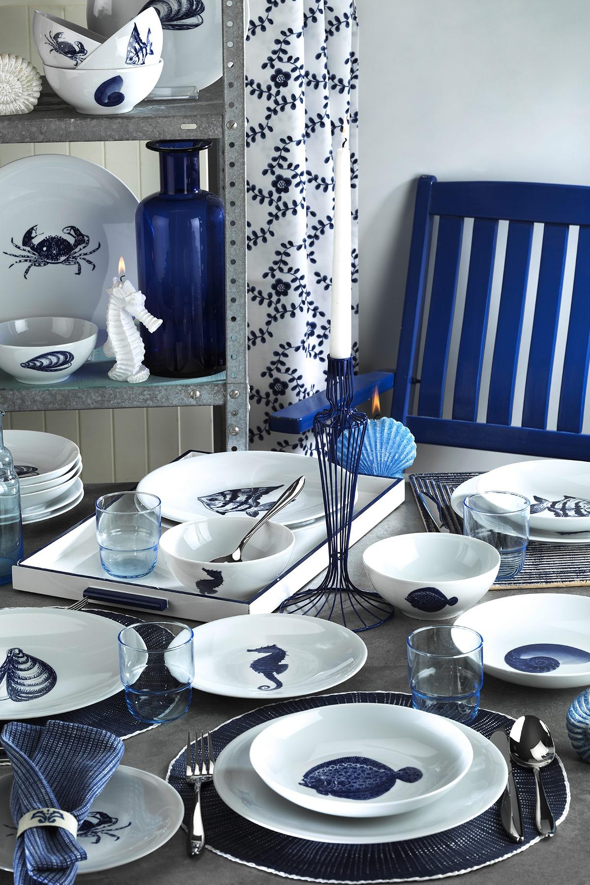 Kütahya Porselen - Kütahya Porselen Marine Serisi 24 Parça 8973 Desen Yemek Seti