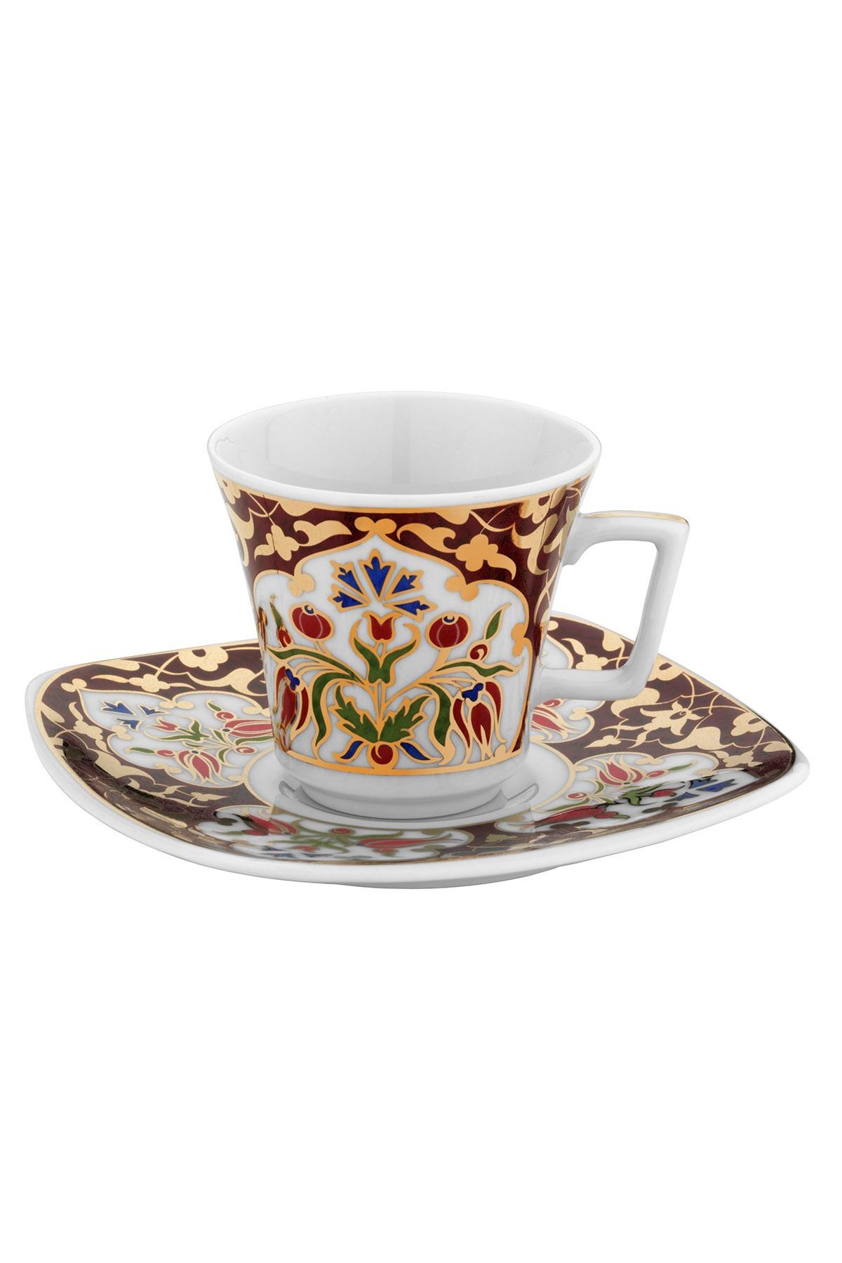 Kütahya Porselen - Kütahya Porselen Medusa 2'li Kahve Takımı Bordo