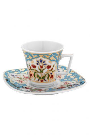 Kütahya Porselen - Kütahya Porselen 3864 Desen Kahve Fincan Takımı Turkuaz