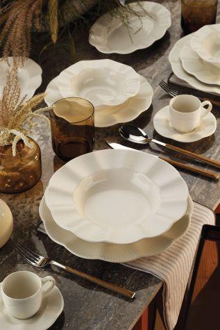 Kütahya Porselen - Kütahya Porselen Milena 62 Parça Krem Yemek Takımı