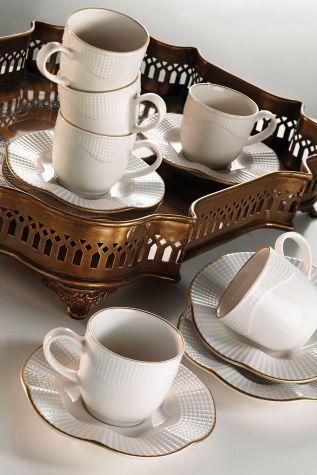 Kütahya Porselen - Kütahya Porselen Milena Krem Altın File Çay Fincan Takımı