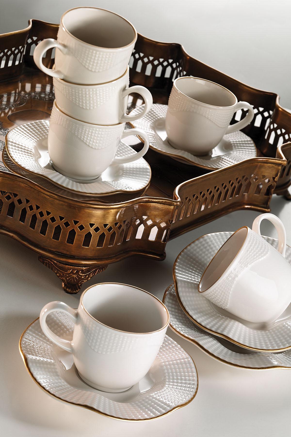 Kütahya Porselen - Kütahya Porselen Milena Krem Altın File Kahve Fincan Takımı