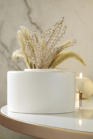 Kütahya Porselen - Kütahya Porselen Modern 14 cm Vazo Mat Krem