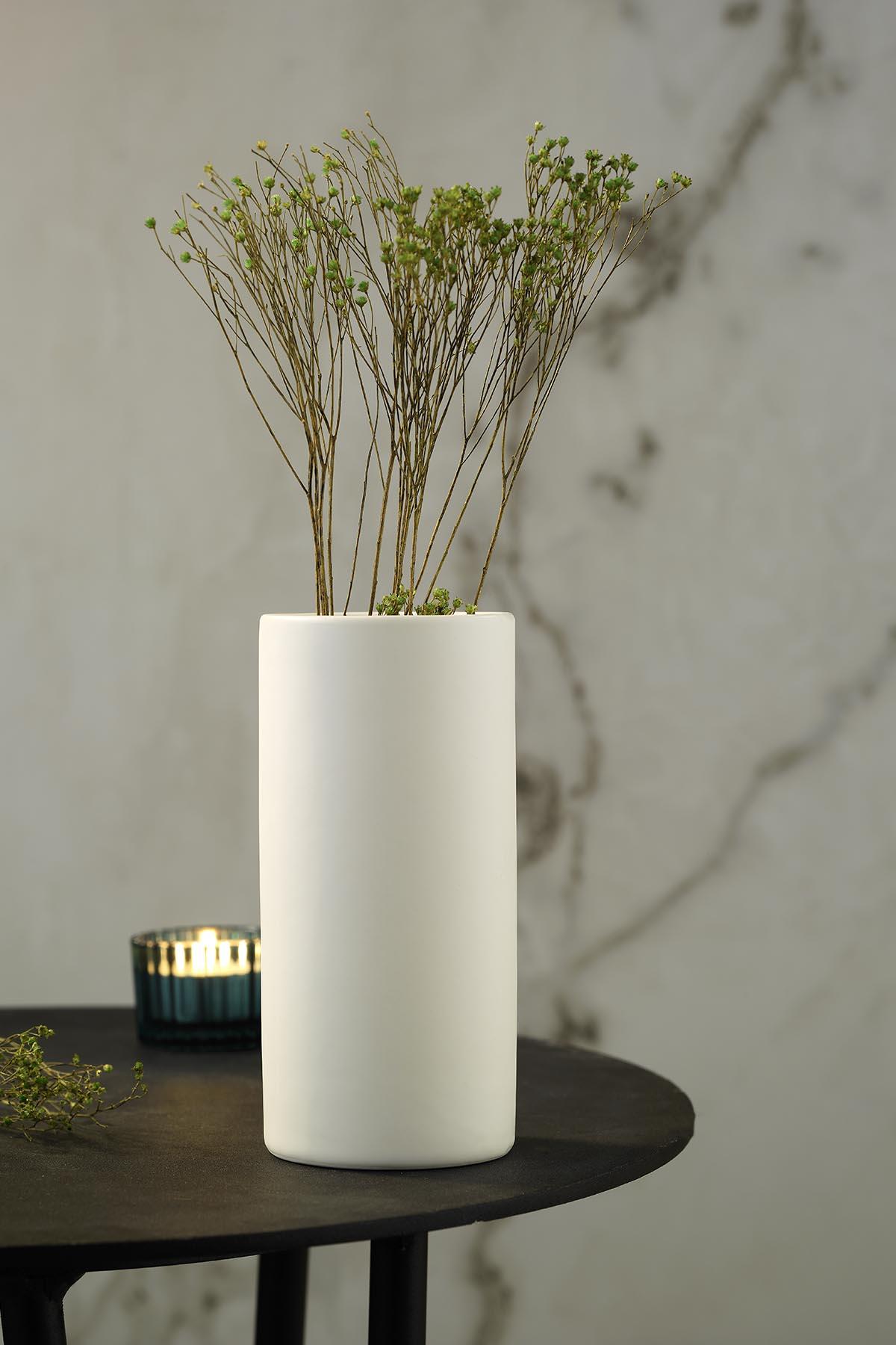Kütahya Porselen Modern 20 cm Vazo Mat Krem