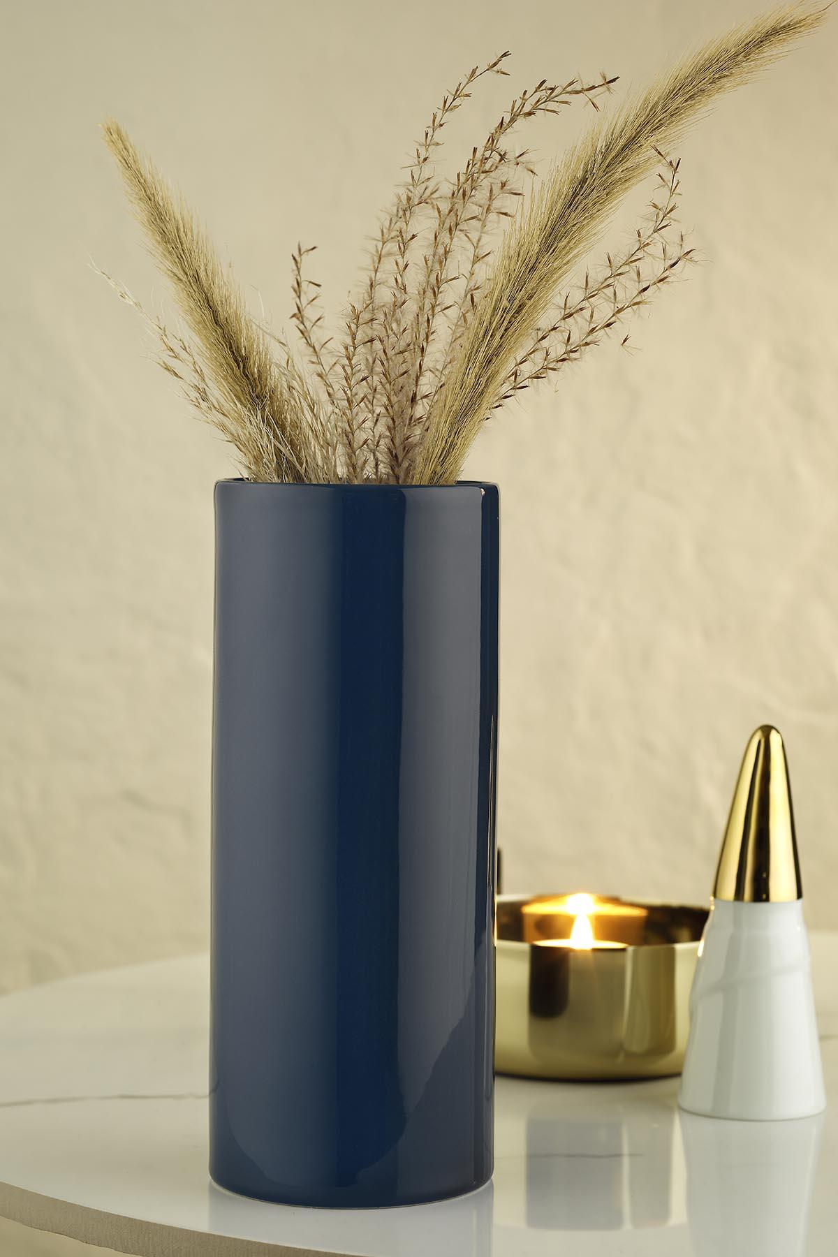 Kütahya Porselen Modern 20 cm Vazo Lacivert