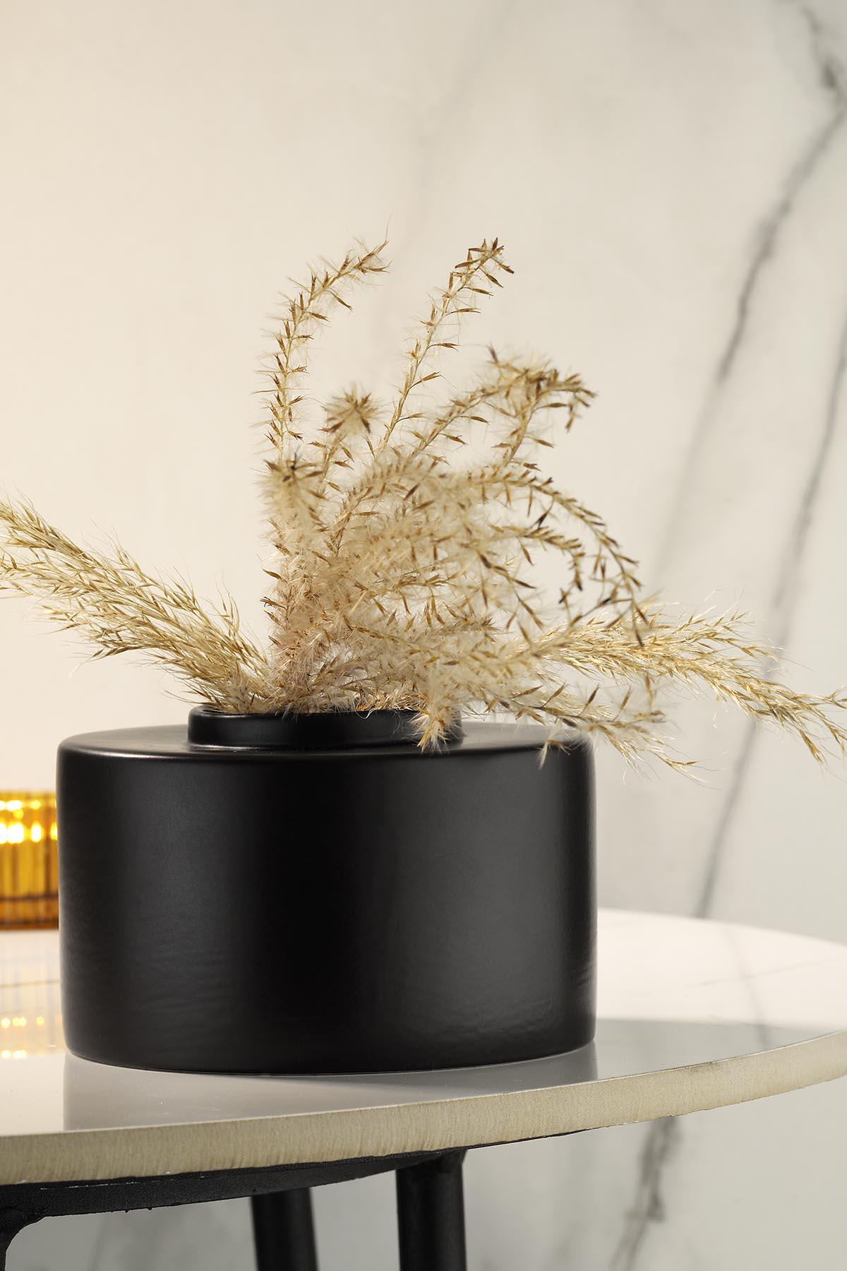 Kütahya Porselen Modern 14 cm Vazo Mat Siyah