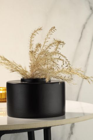 Kütahya Porselen - Kütahya Porselen Modern 14 cm Vazo Mat Siyah