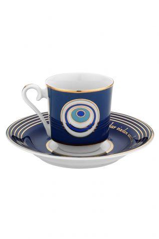 Kütahya Porselen - Kütahya Porselen Nazar Boncuklu Kahve Fincan Takım