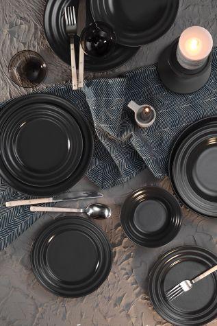 Kütahya Porselen - Kütahya Porselen New Tuvana 24 Parça Yemek Seti Antrasit