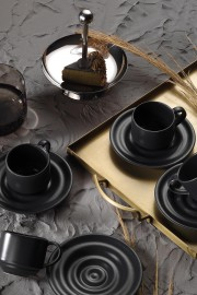 Kütahya Porselen New Tuvana Kahve Takımı Antrasit - Thumbnail