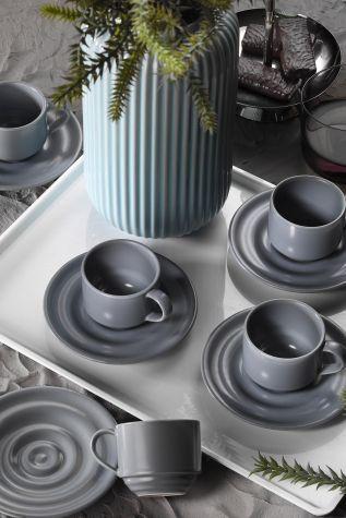 Kütahya Porselen - Kütahya Porselen New Tuvana Kahve Takımı Gri