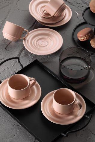 Kütahya Porselen - Kütahya Porselen New Tuvana Kahve Takımı Pembe