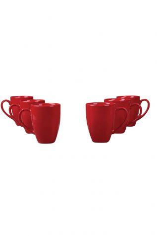 Naturaceram - Naturaceram 6'lı Prizma Mug Kırmızı Renk