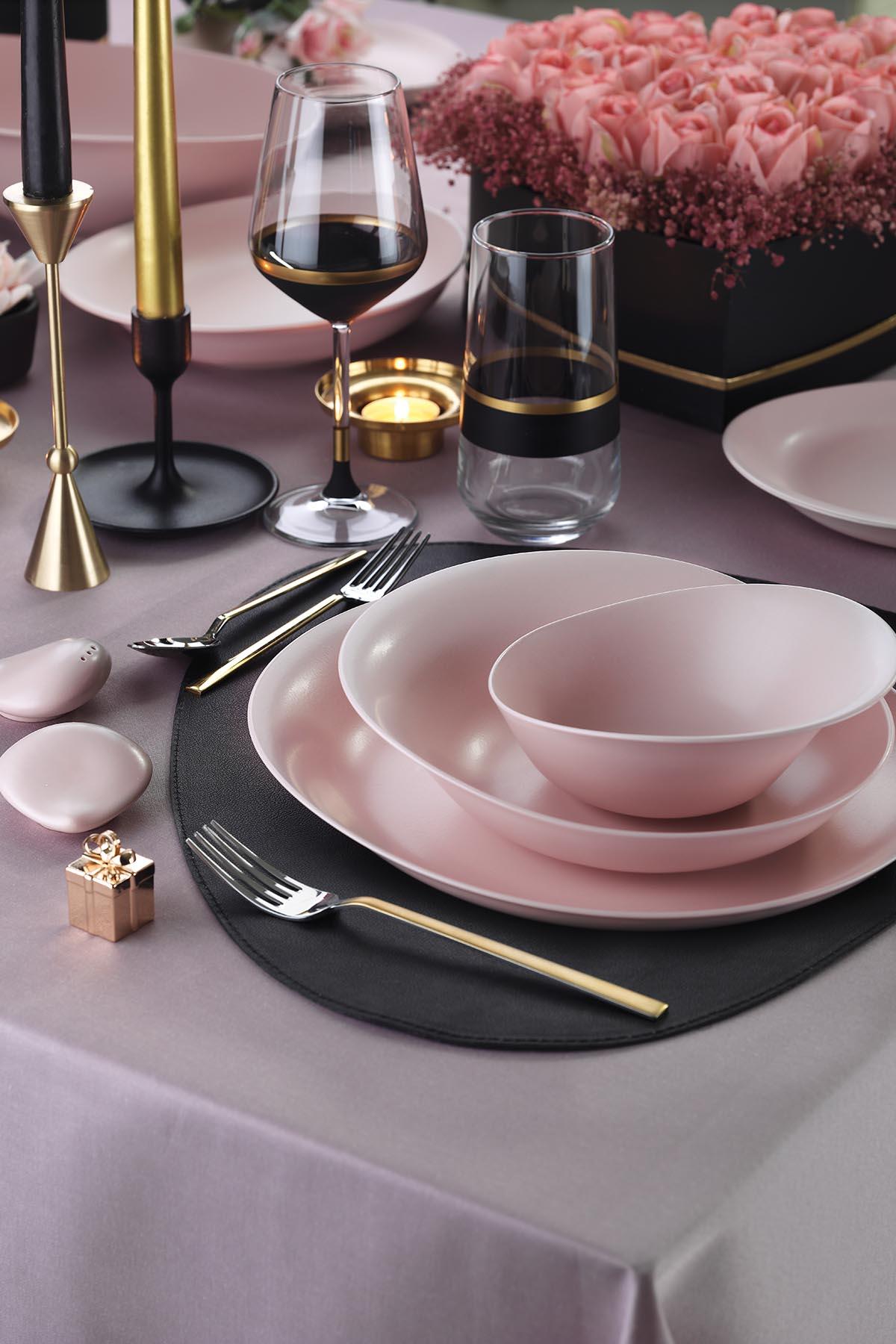 Kütahya Porselen Rosa 29 Parça Yemek Takımı Mat Pembe