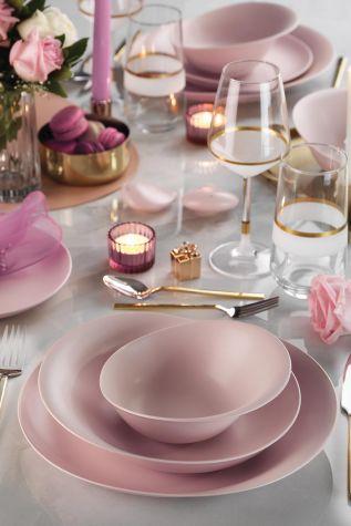 Kütahya Porselen Rosa 29 Parça Yemek Takımı Mat Pembe - Thumbnail (4)