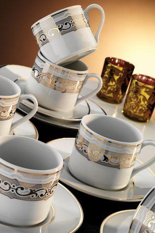 Kütahya Porselen - Kütahya Porselen Rüya 7043 Desen Kahve Fincan Takımı