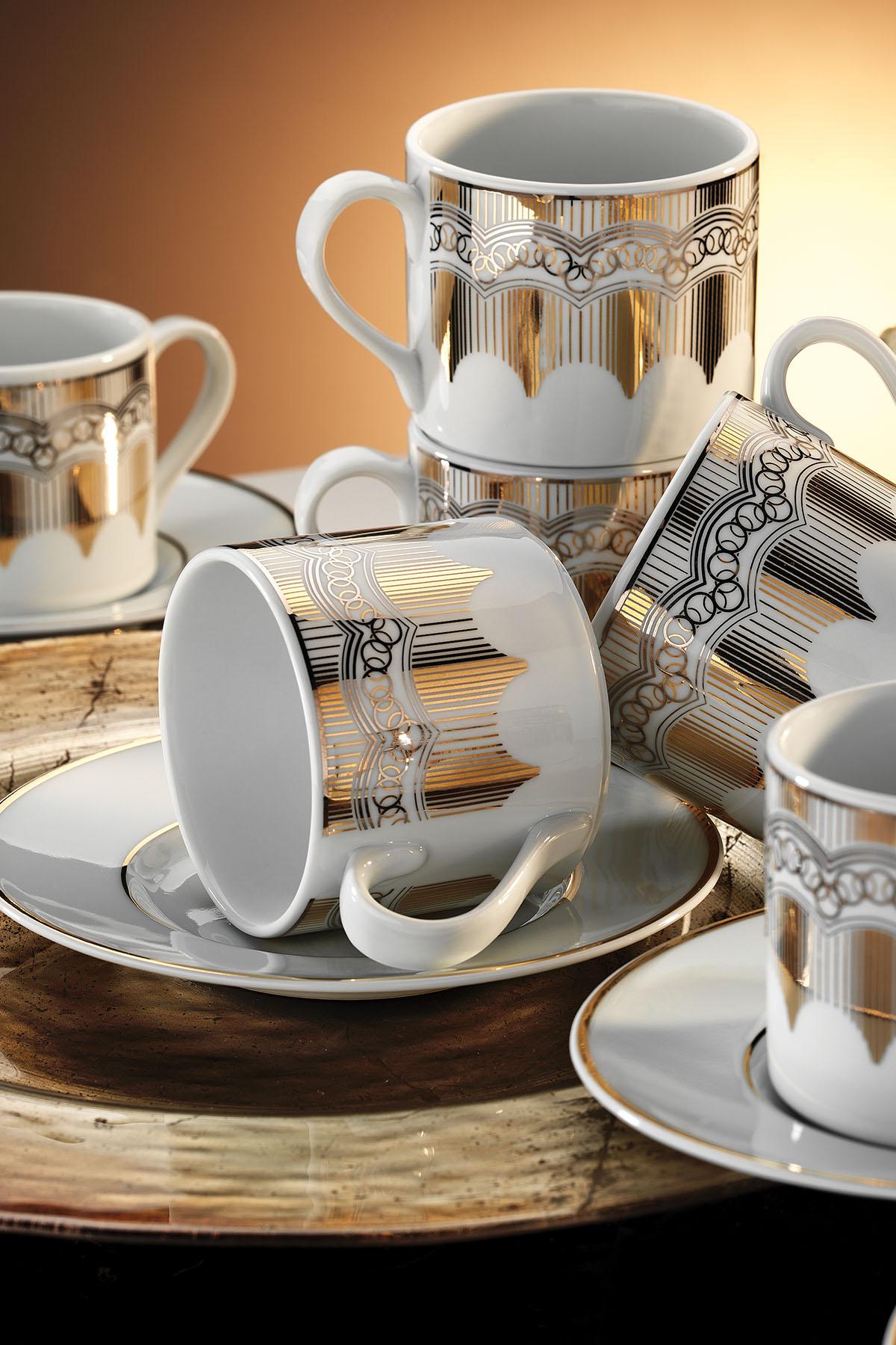 Kütahya Porselen - Kütahya Porselen Rüya 7048 Desen Kahve Fincan Takımı