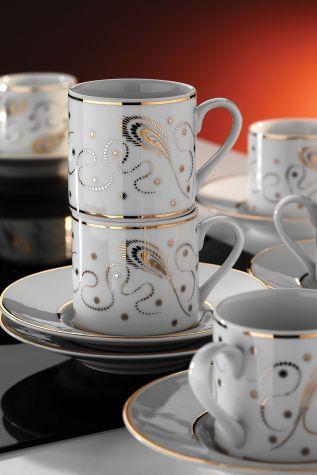 Kütahya Porselen - Kütahya Porselen Rüya 7050 Desen Kahve Fincan Takımı
