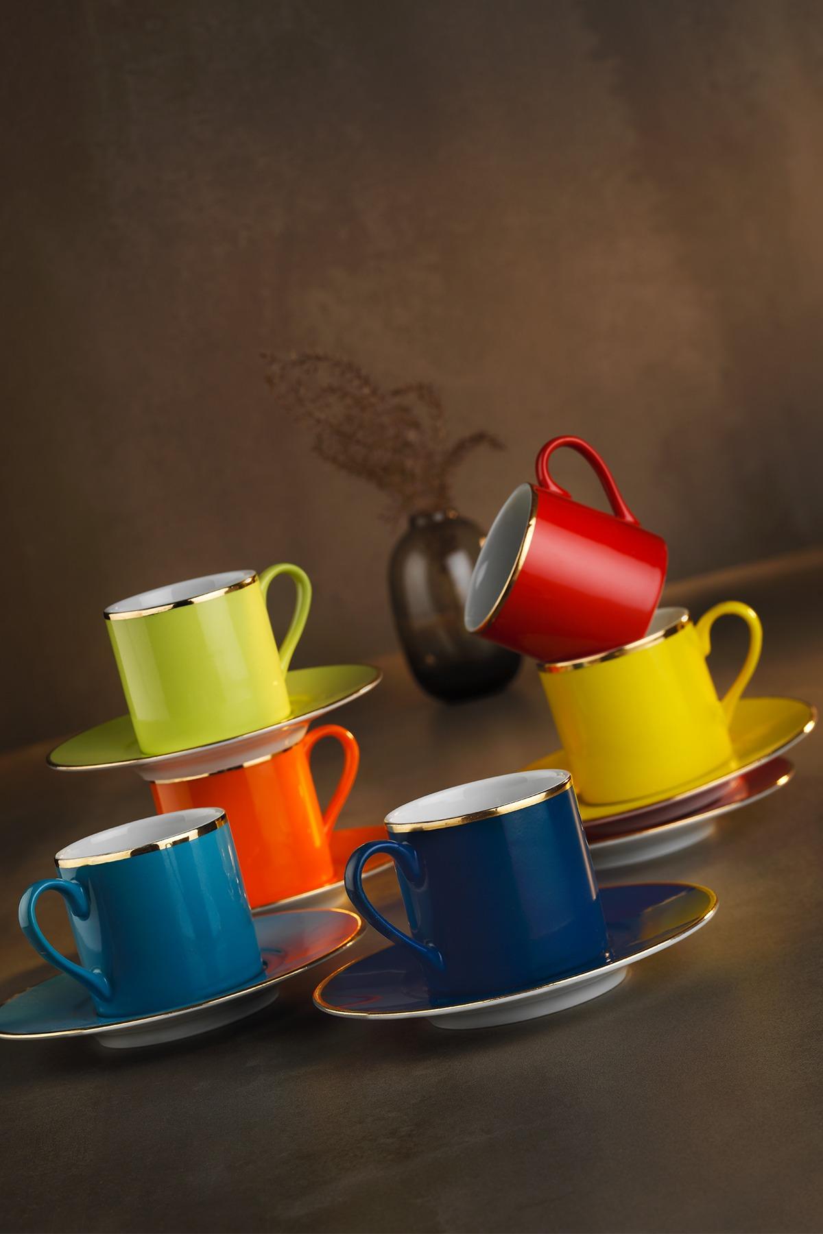 Kütahya Porselen - Kütahya Porselen Rüya Renkli Kahve Fincan Takımı