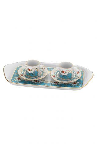 Kütahya Porselen - Kütahya Porselen Rüya Tepsili Kahve Takımı 3864