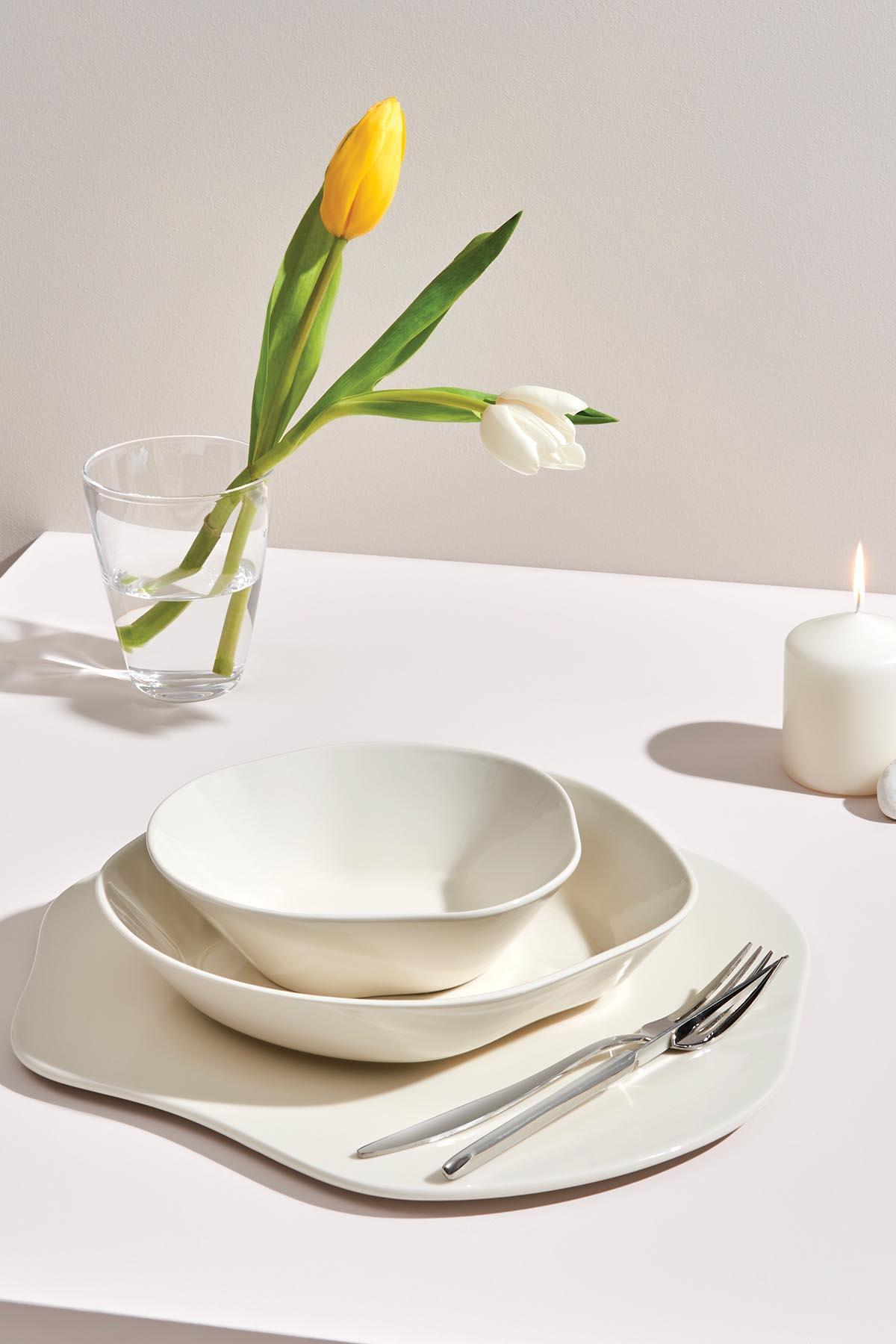 Kütahya Porselen Skallop 2′li 18 cm Pasta Seti Krem