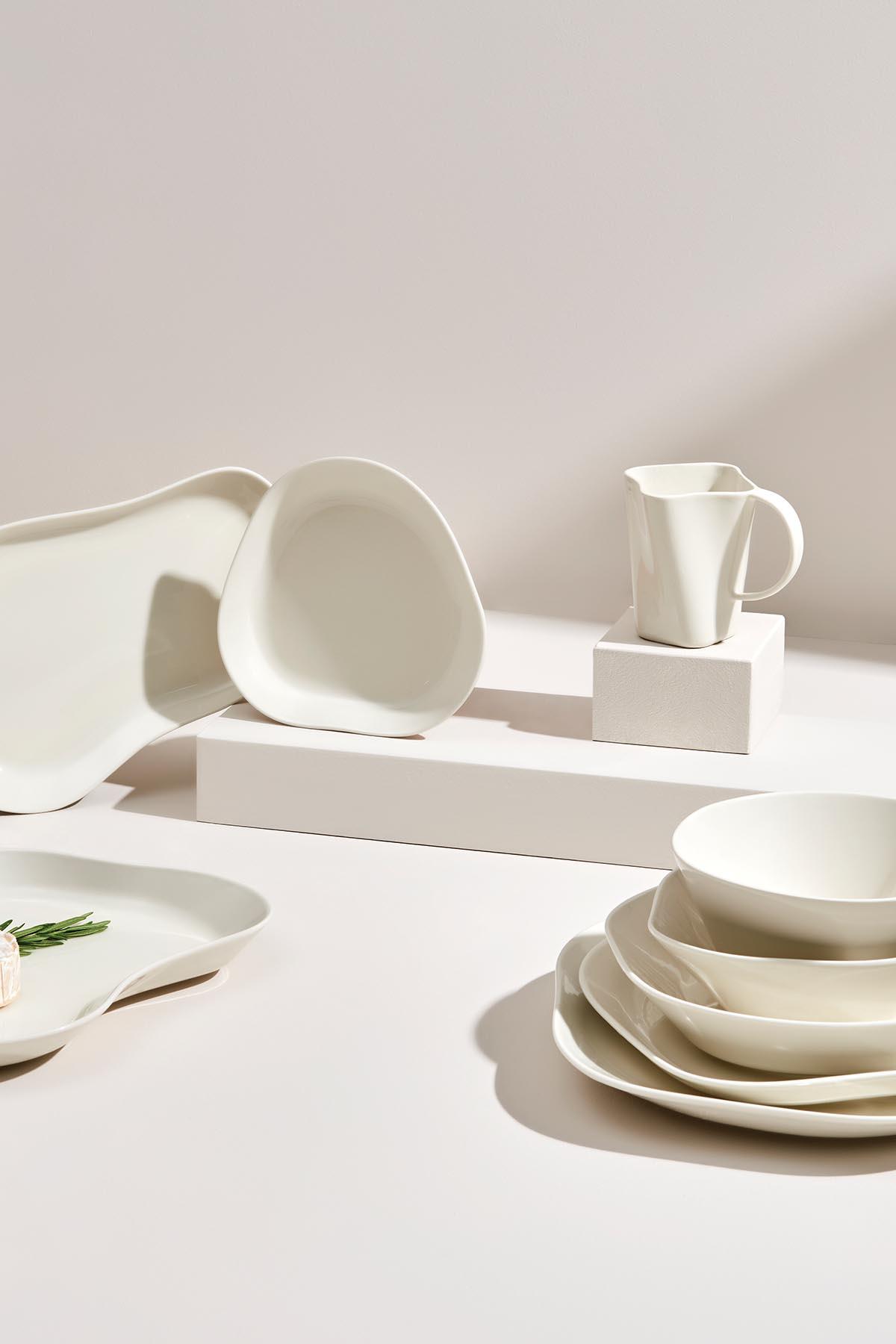 Kütahya Porselen Skallop 2′li 23 cm Büyük Kase Seti Krem