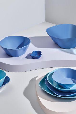 Kütahya Porselen Skallop 2'li 23 cm Büyük Kase Seti Mavi - Thumbnail (2)