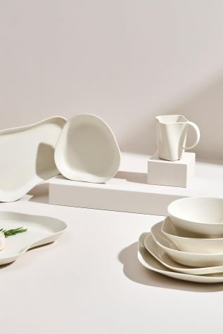 Kütahya Porselen Skallop 2′li 28x25 cm Kayık Seti Krem - Thumbnail (1)