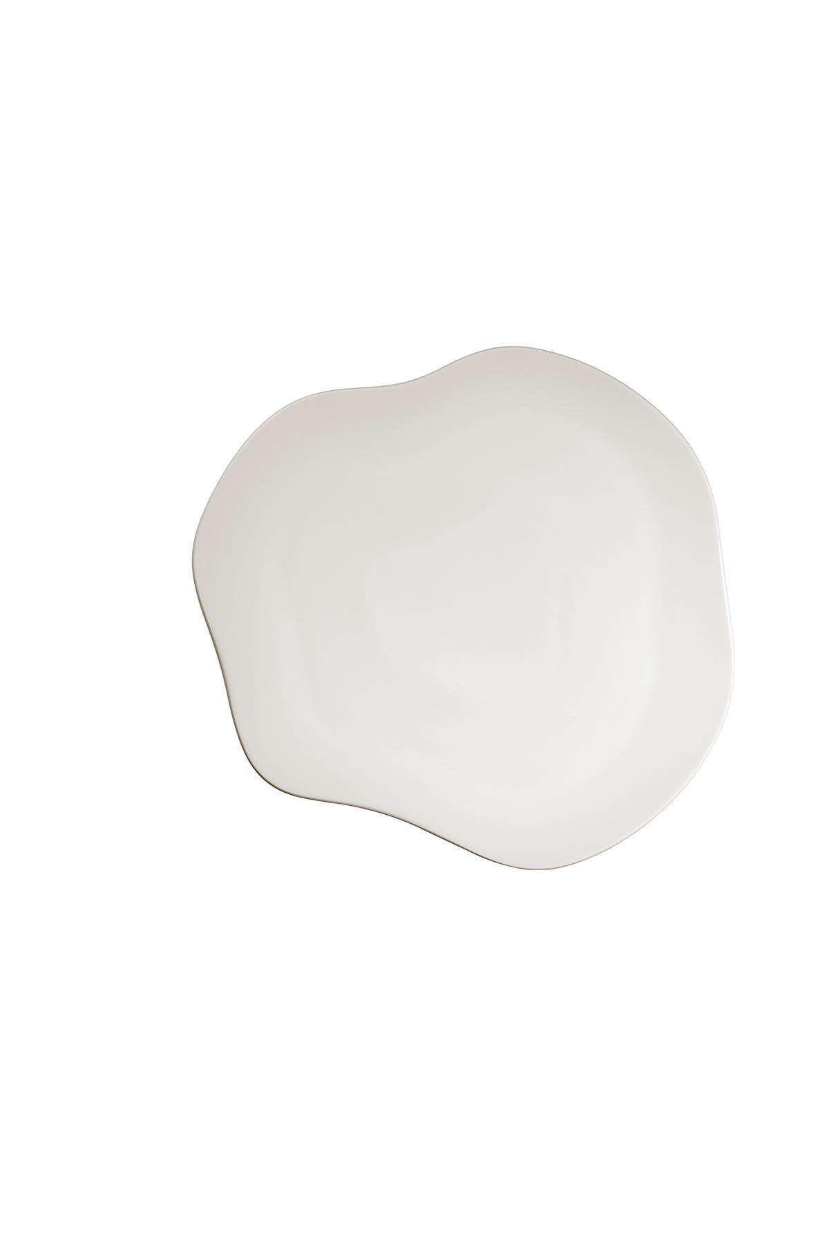 Kütahya Porselen Skallop 34,5 cm Peynir Tabağı Krem