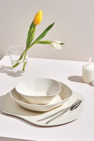 Kütahya Porselen Skallop 34,5 cm Peynir Tabağı Krem - Thumbnail (2)