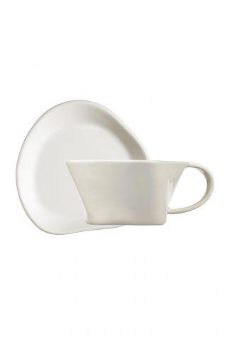 Kütahya Porselen - Kütahya Porselen Skallop 4 Parça Çay Seti Krem